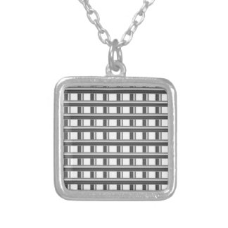 steel bars background silver plated necklace