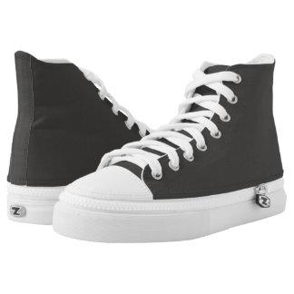 Steel Black Hi-Top Footwear Printed Shoes