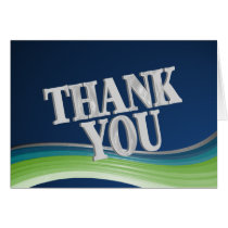 Steel Blue and Green Wave Thank You Card