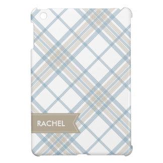 Steel Blue and Tan Plaid Monogram iPad iPad Mini Case