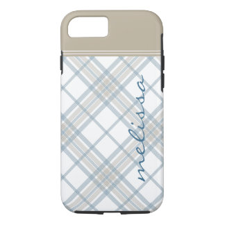 Steel Blue and Tan Plaid Monogram iPhone 7 iPhone 7 Case