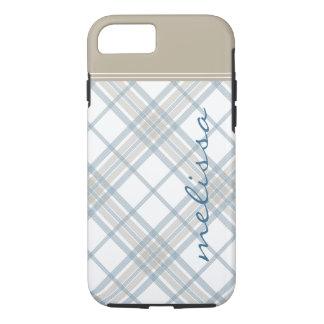 Steel Blue and Tan Plaid Monogram iPhone 7 iPhone 8/7 Case