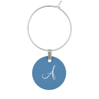 Steel Blue and White Monogram Wedding Favor Wine Charm