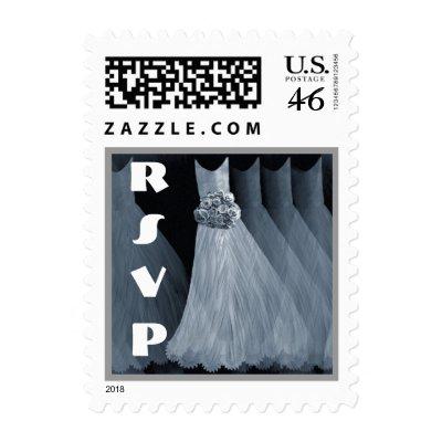 STEEL BLUE Bridesmaid Dresses RSVP Wedding Stamp by JaclinArt
