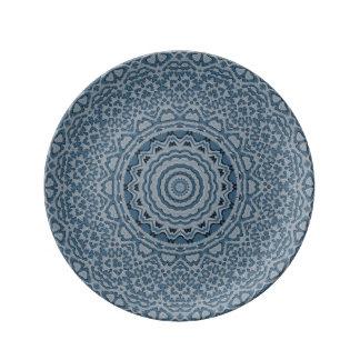 "Steel Blue Brocade 8.5"" Decorative Porcelain Plate"