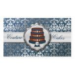 Steel Blue Cake Couture Glitzy Damask Cake Bakery Business Card Template