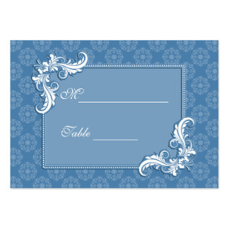 Steel Blue Damask and Floral Frame Place Setting Large Business Cards (Pack Of 100)