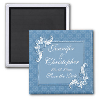 Steel Blue Damask and Floral Frame Save the Date 2 Inch Square Magnet
