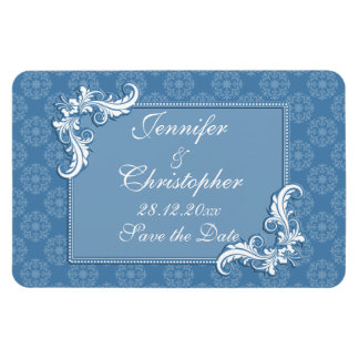 Steel Blue Damask and Floral Frame Save the Date Rectangular Photo Magnet