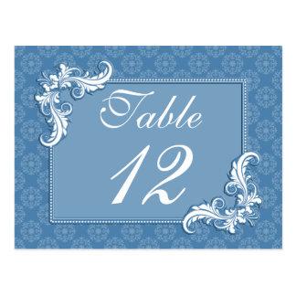 Steel Blue Damask and Floral Frame Table Number Postcard