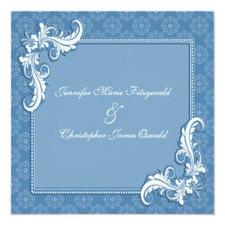 Steel Blue Damask and Floral Frame Wedding Card