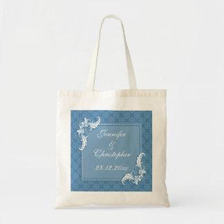 Steel Blue Damask and Floral Frame Wedding Tote Bag