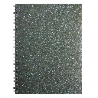 Steel Blue Grey Faux Glitter Notebook