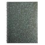 Steel Blue Grey Faux Glitter Spiral Notebooks
