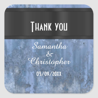 Steel blue metal thank you square sticker