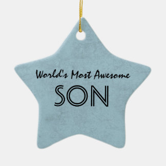Steel Blue Most Awesome Son Home Custom Gift Item Ceramic Ornament