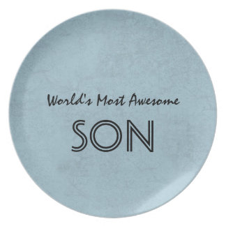 Steel Blue Most Awesome Son Home Custom Gift Item Melamine Plate