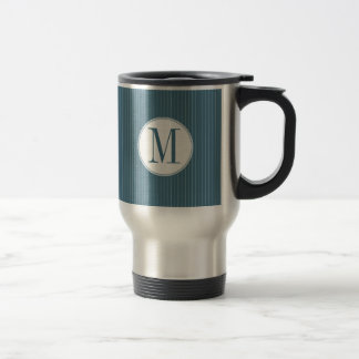 Steel Blue Pinstripe Single Monogram Mug