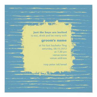 """Steel Blue & Primrose Bachelor Party Invitation 5.25"""" Square Invitation Card"""