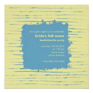 """Steel Blue& Primrose Bachelorette Party Invitation 5.25"""" Square Invitation Card"""