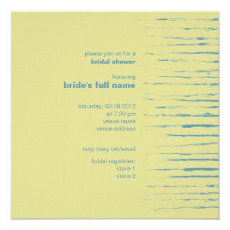 """Steel Blue & Primrose Bridal Shower Invitation 5.25"""" Square Invitation Card"""