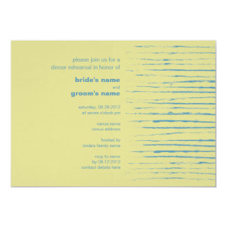 "Steel Blue & Primrose Dinner Rehearsal Invitation 5"" X 7"" Invitation Card"
