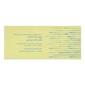 "Steel Blue & Primrose Engagement Invitation 4"" X 9.25"" Invitation Card"