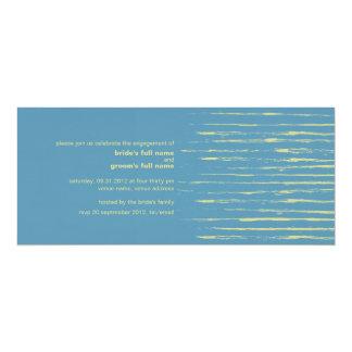 "Steel Blue & Primrose Engagement Invitation 2 4"" X 9.25"" Invitation Card"