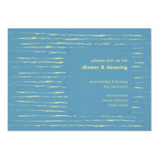 """Steel Blue & Primrose Reception Invitation 5"""" X 7"""" Invitation Card"""