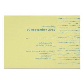 "Steel Blue & Primrose RSVP Card Invitation 3.5"" X 5"" Invitation Card"