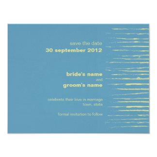 "Steel Blue & Primrose Save the Date Announcement 4.25"" X 5.5"" Invitation Card"
