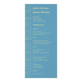 Steel Blue & Primrose Wedding Menu 4x9.25 Paper Invitation Card