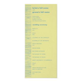 Steel Blue & Primrose Wedding Program 4x9.25 Paper Invitation Card