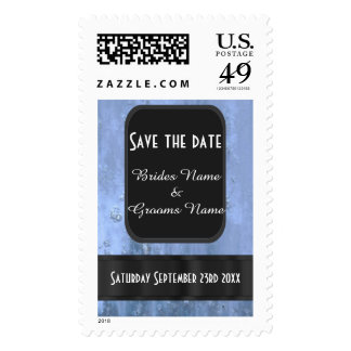 Steel blue rusty metal save the date postage