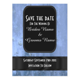 Steel blue rusty metal save the date postcard