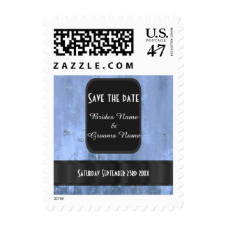 Steel blue rusty metal save the date stamp