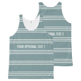 Steel Blue Stripes Optional Text Custom tank top All-Over Print Tank Top