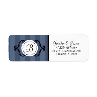 Steel Blue Sweet Charming Striped Personalized Label