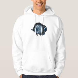 Steel Blue Tropical Butterfly Fish Hoodie