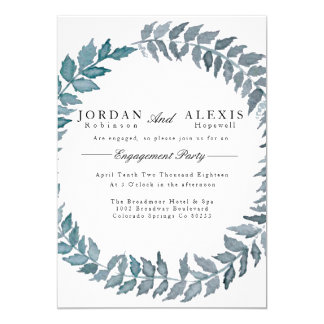 Steel Blue Vine | Watercolor Engagement Party Card