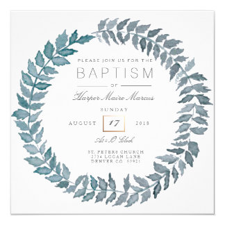Steel Blue Vine | Watercolor Wreath Baptism Card