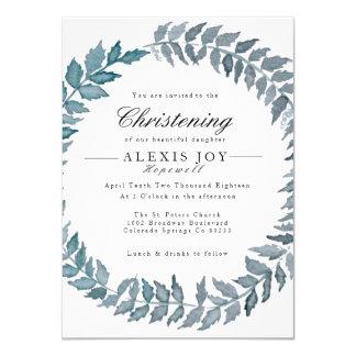 Steel Blue Vine | Watercolor Wreath Christening Card