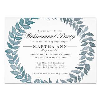 Steel Blue Vine | Watercolor Wreath Retirement Card