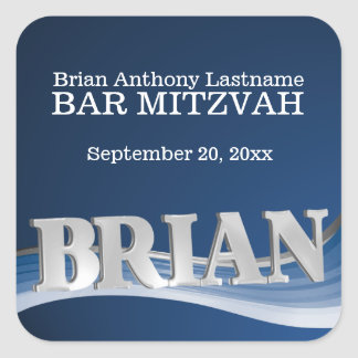 Steel Blue Wave Name Brian Square Sticker