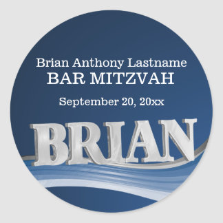 Steel Blue Wave Name Brian Classic Round Sticker