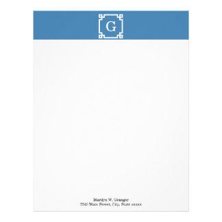 Steel Blue Wht Greek Key Frame #2 Initial Monogram Custom Letterhead