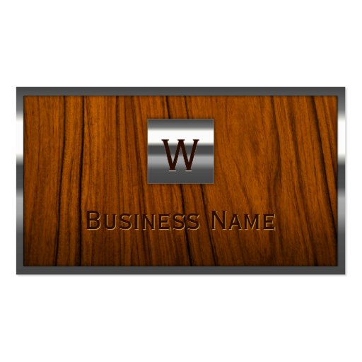 Steel Border Monogram Wooden Business Card