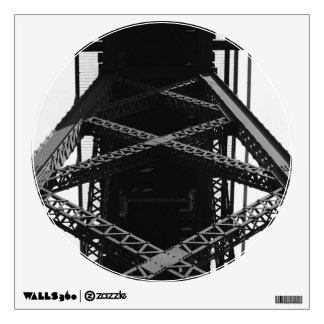 Steel Bridge Detail Circle Window Wall Sticker