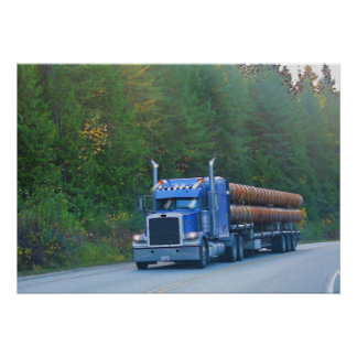 Steel Construction Pipe Truck Highway Driving Art Poster