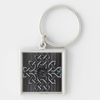 steel cross Silver-Colored square keychain